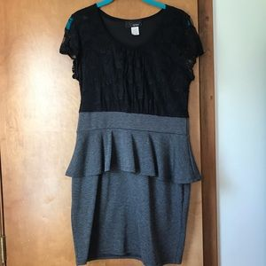 Black and Gray Peplum Waist Dress